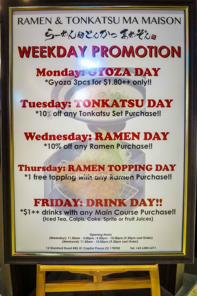 Ramen & Tonkatsu Ma Maison Promotions