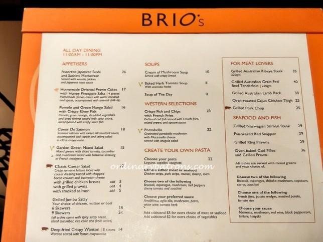 Cafe Brio Menu Singapore