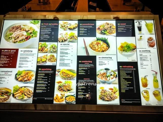 So Pho menu