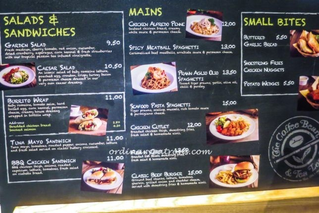 Coffee Bean Marine Cove Menu
