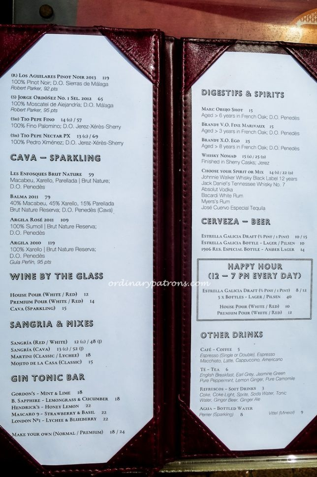 My Little Spanish Place at Boat Quay Menu