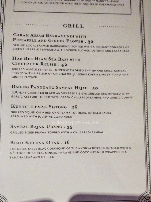 Violet Oon Satay Bar & Grill menu