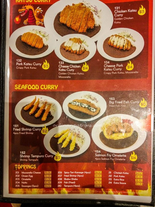 Monster Curry Menu