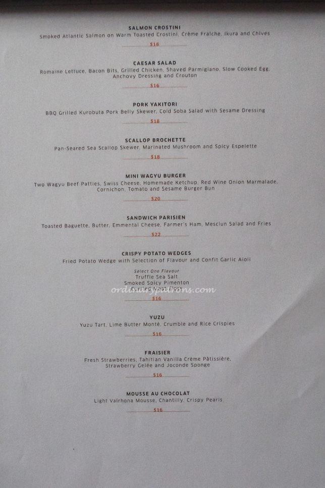 1864 Sofitel Bar Food Menu