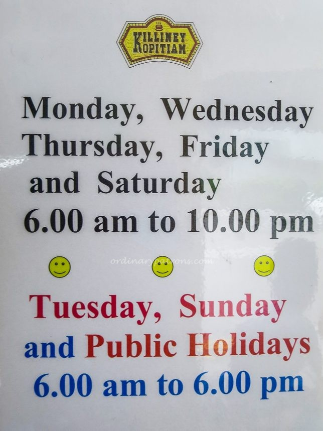 Killiney Kopitiam Opening Hours