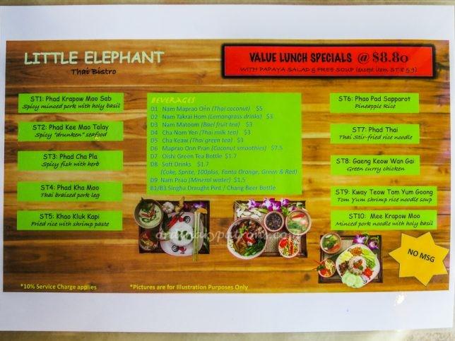 Little Elephant Thai Bistro Menu
