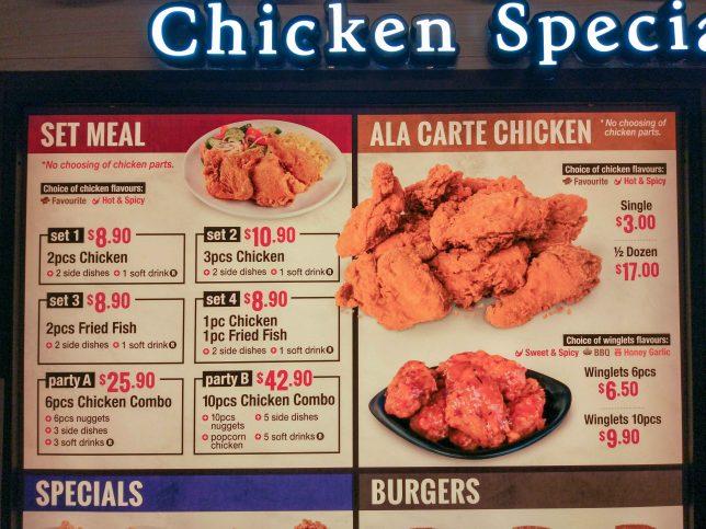 Singpost Centre  Chic-a-boo menu
