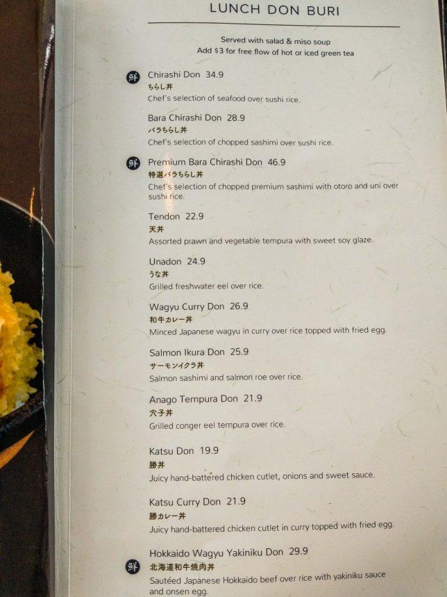 Sen of Japan set lunch menu