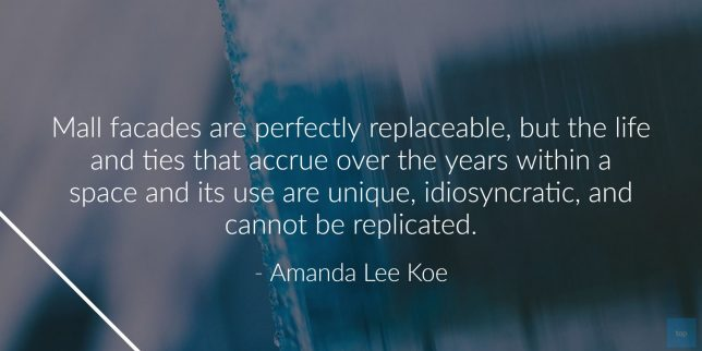 Mall façades are perfectly replaceable, but the life and ties that accrue over the years within a space and its use are unique, idiosyncratic, and cannot be replicated. ― Amanda Lee Koe