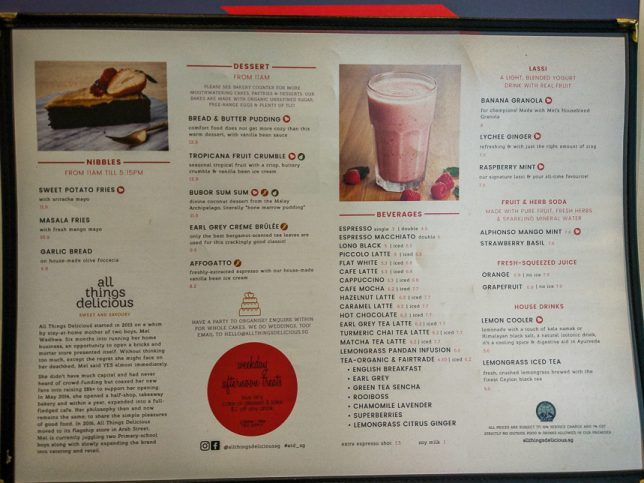 All Things Delicious Menu