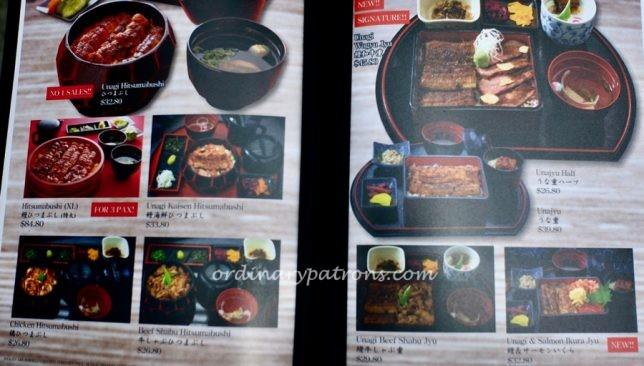 Unagiya Ichinoji Dining Suntec City Menu