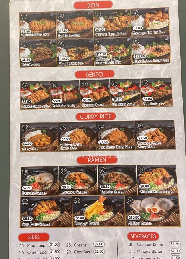 Japanese Takeaway Food from Ichi-San Centrepoint Menu