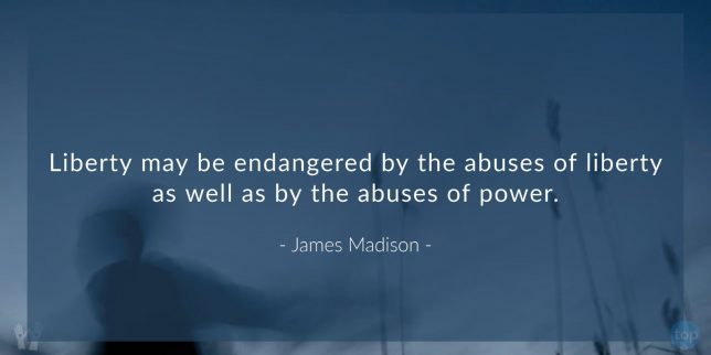 Liberty may be endangered by the abuses of liberty as well as by the abuses of power. - James Madison   quote
