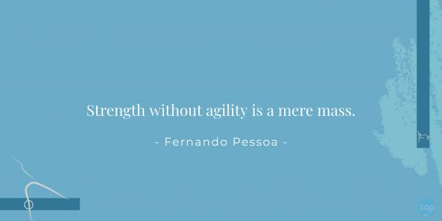 Strength without agility is a mere mass. - Fernando Pessoa