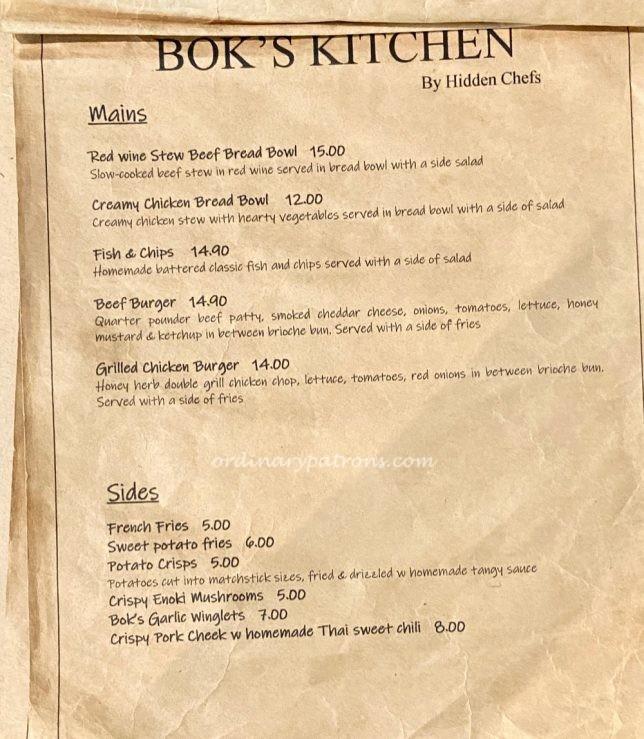 Bok's Kitchen by Hidden Chefs Menu