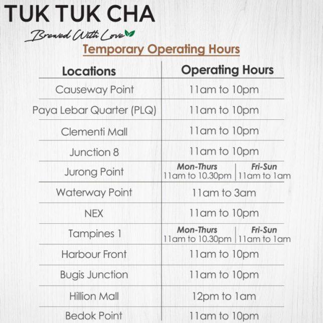 Tuk Tuk Cha Opening hours