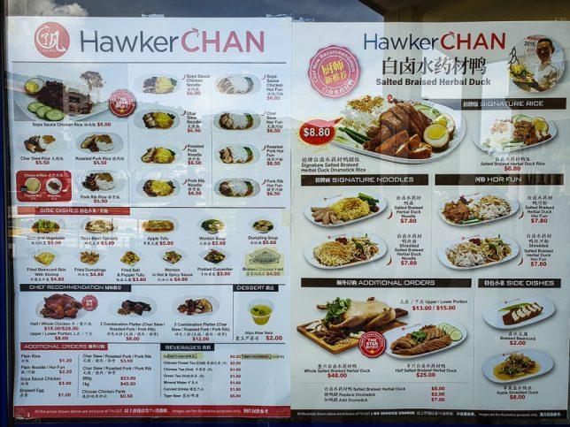 Hawker Chan Menu